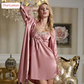2016 новая коллекция весна и лето элегантный женский шелковый атлас 2 шт. пижамы костюм халат и платье устанавливает cc-s003