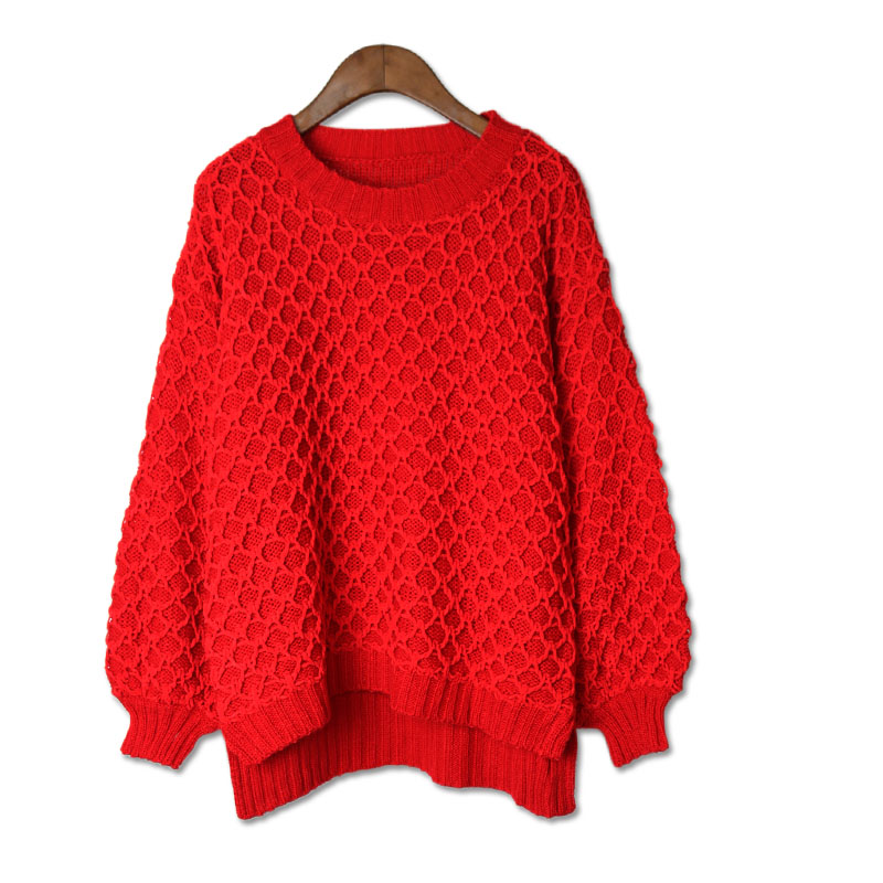 2017 Europe New Fashion Women Girls Thick Winter Warm Lady Knitted Sweater Tops Loose Solid Color Casual Knitting Pullover Tops in Pullovers from Women 39 s Clothing