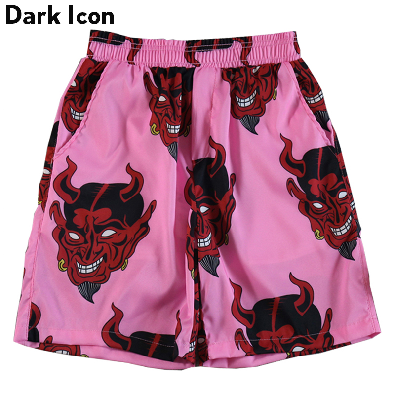 Dark Icon Printed Elastic Waist Beach   Shorts   Men 2019 Summer Men's   Shorts   Pink Purple