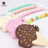 Let S Make Baby Pacifier Clip 4pc Teething Silicone Ice Cream Baby Nursing Accessories Chew Beads