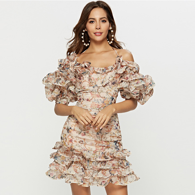 HIGH STREET Newest 2019 Designer Runway Dress Women s Spaghetti Strap Cascading Ruffle Floral Casual Dress
