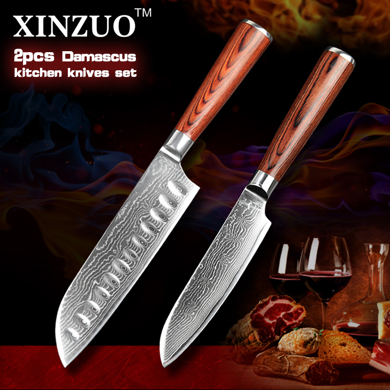 XINZUO 2 pcs kitchen font b knife b font set high quality Damascus kitchen font b