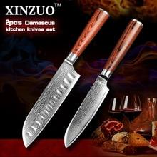 Xinzuo 2 stücke küchenmesser set hohe qualität damaskus küchenmesser japanischen vg10 chef santoku messer holzgriff kostenloser versand