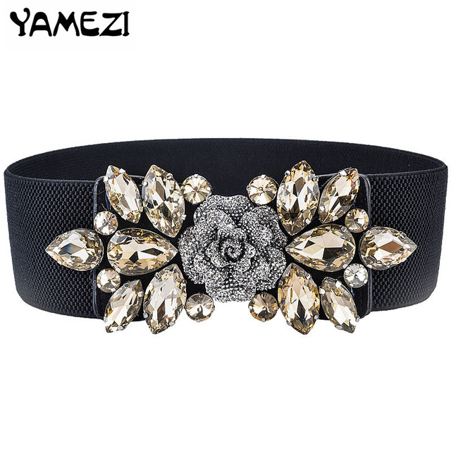New Rhinestone Belt Crystal shiny style retro big crystal waistband short  Multi-Colored designer elastic womens belts 60a386841