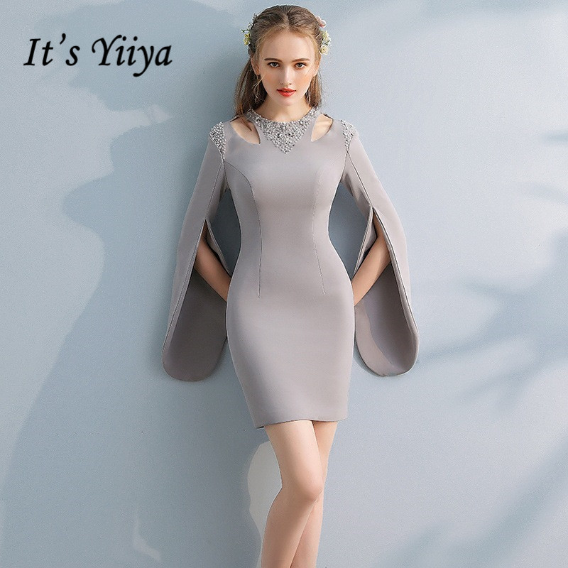 Its Yiiya Elegant Gray Full Cap Sleeve Cut Out Sequined Cocktail