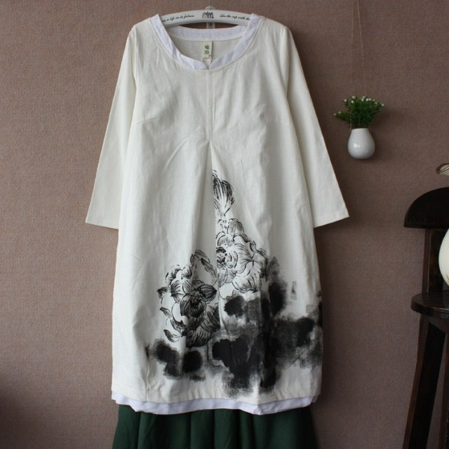 2013 chinese style ink painting fluid loose lantern skirt one-piece dress
