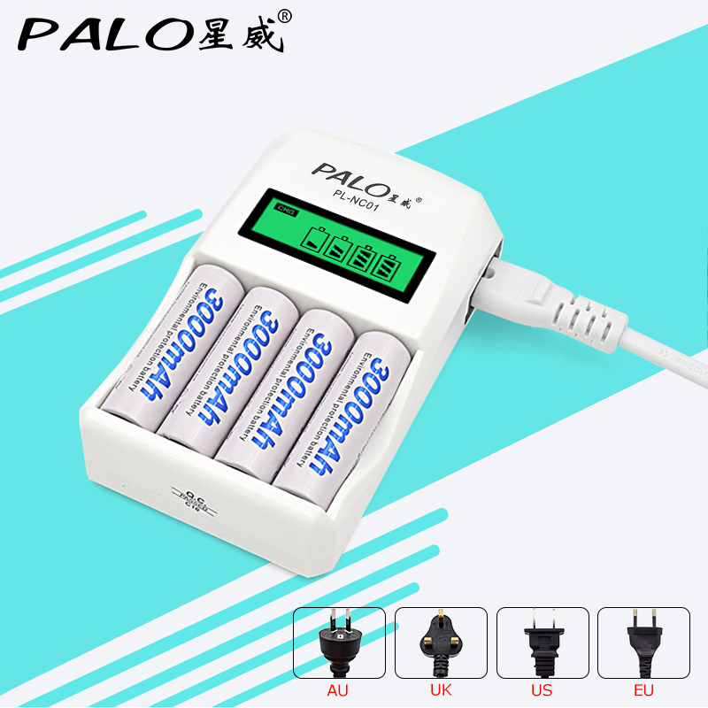 4 Slots Smart Intelligent Battery Charger For AA / AAA NiCd NiMh Rechargeable Batteries LCD Display