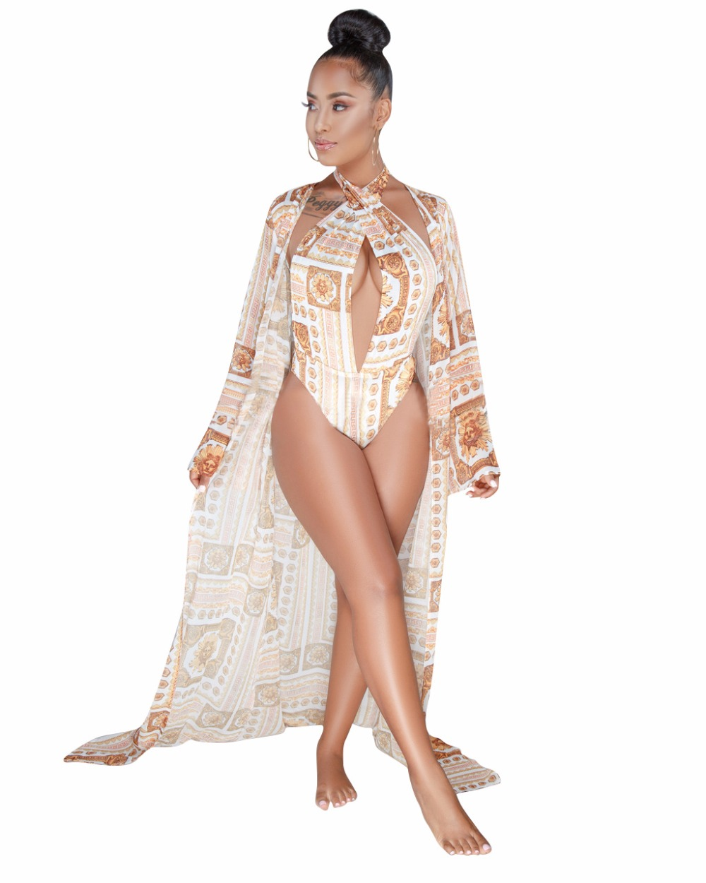 Two Pieces Set 2018 new arrival Printed Rompers Womens Jumpsuit Sexy V-Neck Hollow Out Summer Boho Beach Bodysuits
