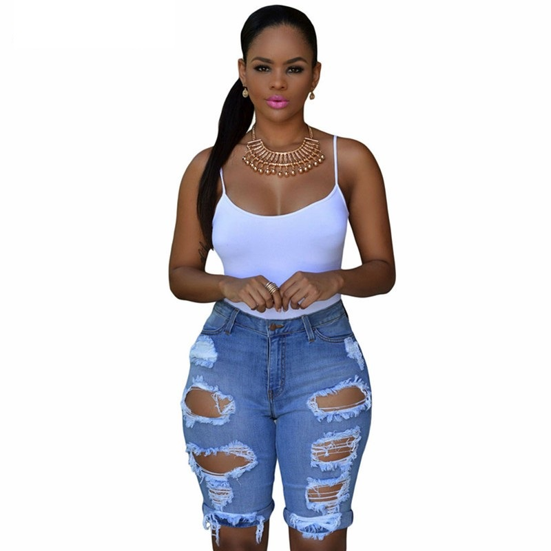 Summer Women Sexy Ripped Hole Denim Shorts Ladies Casual ...