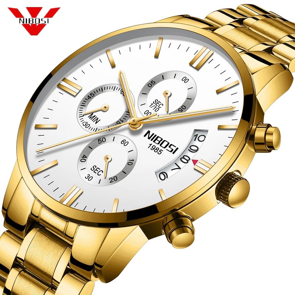 NIBOSI Waterproof Casual Gold Watch Men Luxury Brand Quartz Military Sport Watch Mens Watches Male Wristwatch Relogio Masculino