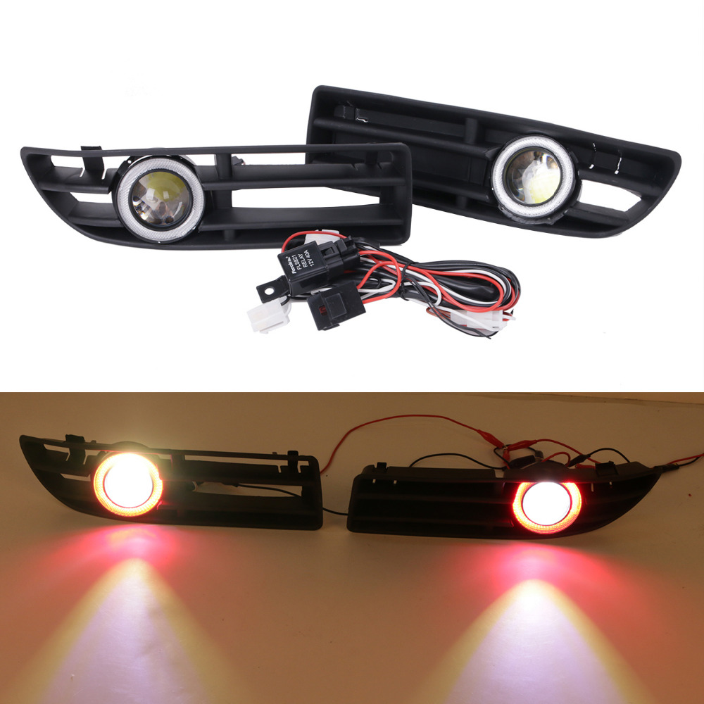 LED Fog Lights For VW Bora JETTA TDI GLS GLX 1999 - 2004 Red Angel Eyes Convex Lens Light Front Bumper Grille Grill #9445 front bumper fog lamp grille led convex lens fog light angel eyes for vw polo 2001 2002 2003 2004 2005 drl car accessory p364