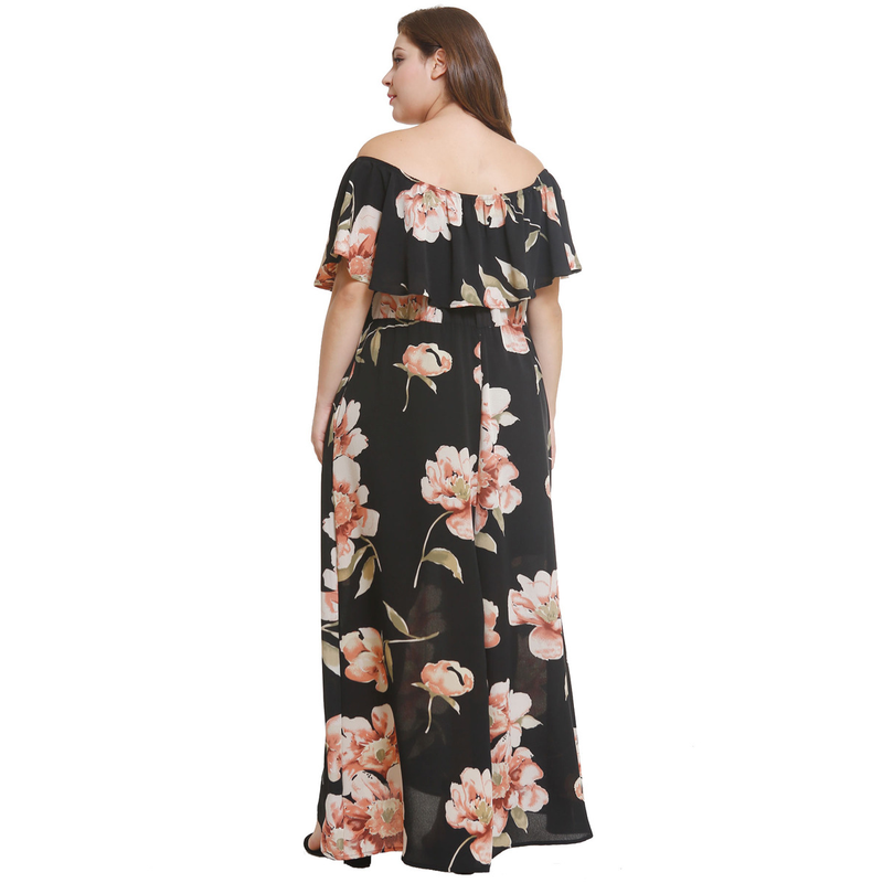 Prowow New Large Size Women's Long Dress With Lotus Leaf Edge Shoulder Printed Dress Elegant Dress
