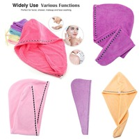 9 Pack Set Foldable Hair Towel Wrap Turban Microfiber Drying Bath Shower Head Towel with Buttons Dry Hair Hat Wrapped#290850