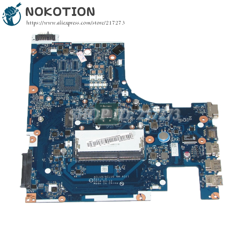 NOKOTION NEW Laptop Motherboard For Lenovo G50 G50-30 Main Board ACLU9 / ACLU0 NM-A311 DDR3 N3530 cpu onboard nokotion brand new cn 0y3pxh 0y3pxh laptop motherboard for inspiron 15 3531 zbw00 la b481p sr1w2 n3530 cpu onboard ddr3