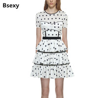 2018 New Self Portrait Dress Summer Women Short Sleeve Stars Print White Short Cake Dress Sukienki