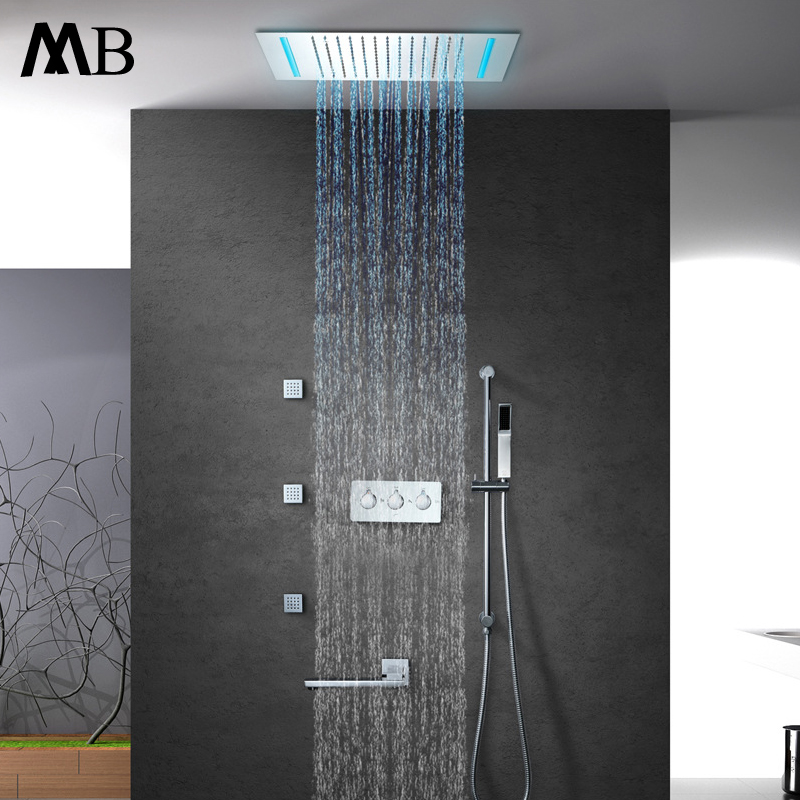 2 Dial 1 Way Bathroom Thermostatic Rain Shower Head Set Round Mixer Faucet Tap Shower Valve Panel To Adopt Advanced Technology Back To Search Resultshome Improvement