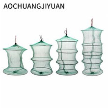 Folding Round Frame Nylon Mesh Crab Crawdad Shrimp Minnow Bait Trap Cast Fish Net Fishing Landing Tackle accessory tool(China)
