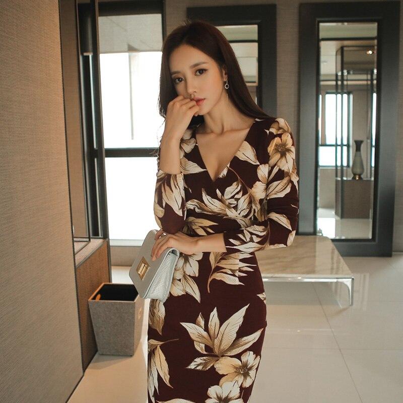 Sexy V-neck Print Slim Waist Bodycon Dress Women 2019 Spring Sheath Hip Package Dresses Fitted Casual Boho Beach Long Vestidos