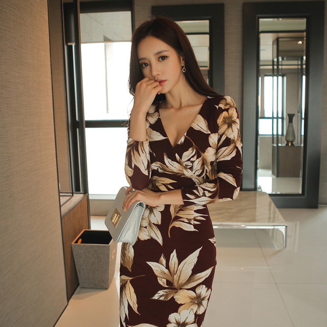 Sexy V-neck Print Slim Waist Bodycon Dress Women  Sheath Hip Package Dress