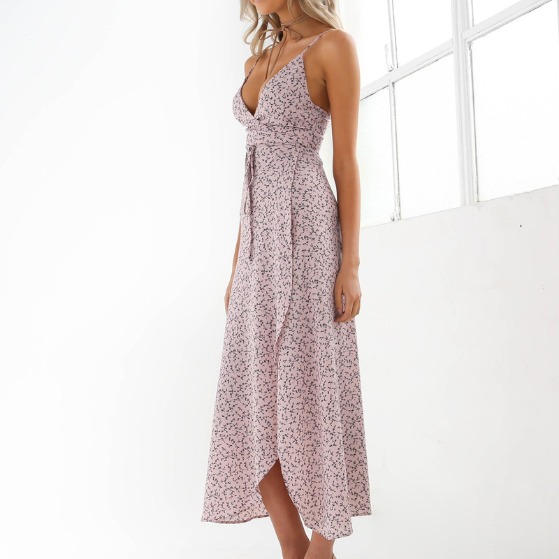 Floral Print Chiffon Long Dress 2020 Sexy V Neck Backless Boho Beach Dress Vestidos Women Split Summer Sundress Maxi Dress 1