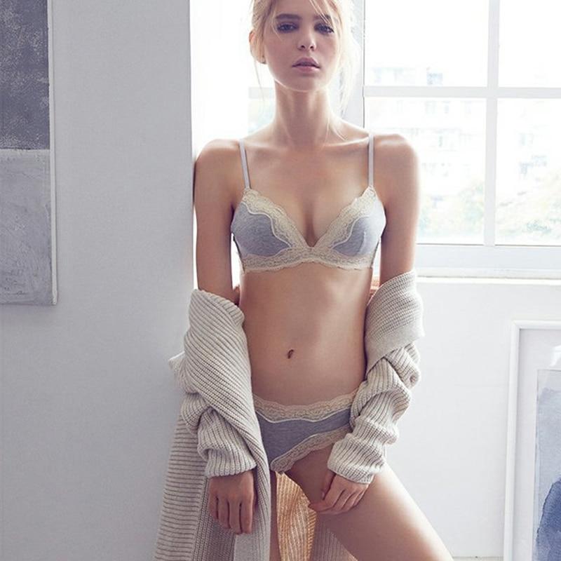 Cotton Bra Set 70 75 80 85 B Cup Underwear Set For Women Bralette Sets Thin
