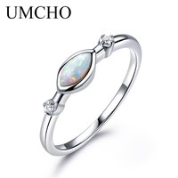 UMCHO Real 925 Sterling Silver White Fire Opal RingsFemale Classic Birthstone Rings For Women Party Gift Fine Jewelry