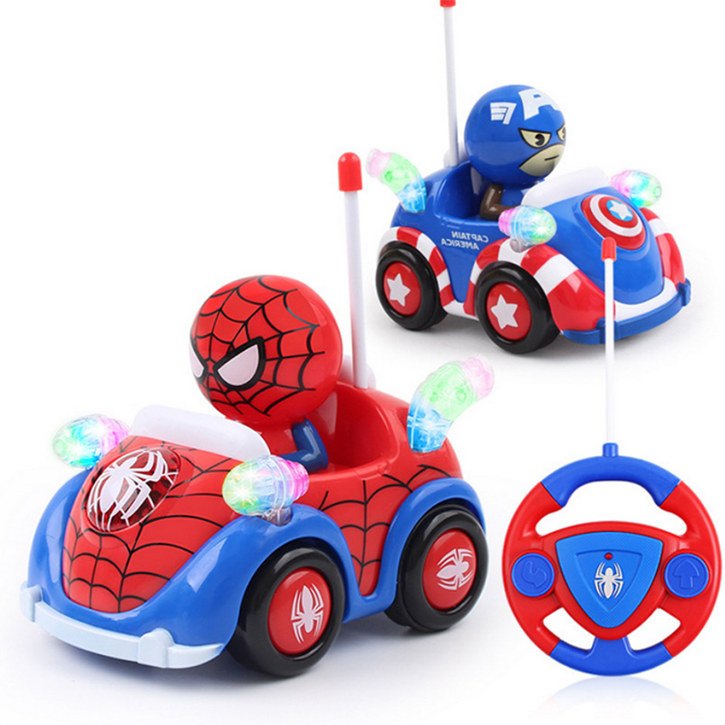 Disney Remote Control Toys Marvel Captain America Spider-man Wireless Remote Control Car Cartoon Car Child Birthday Gift