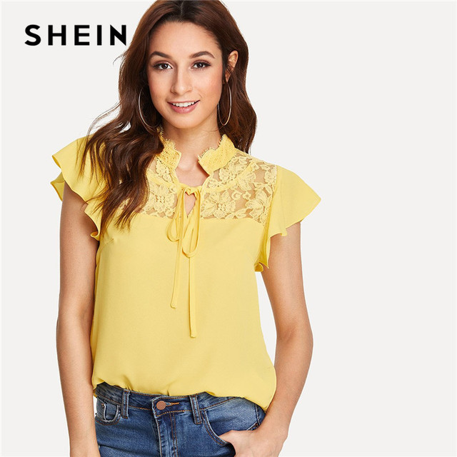 0b2216b34 SHEIN Workwear Ruffle Tie Neck Sheer Yellow Knot Front Floral Lace Yoke  Office Lady Casual Elegant Shirt Womens Tops and Blouses