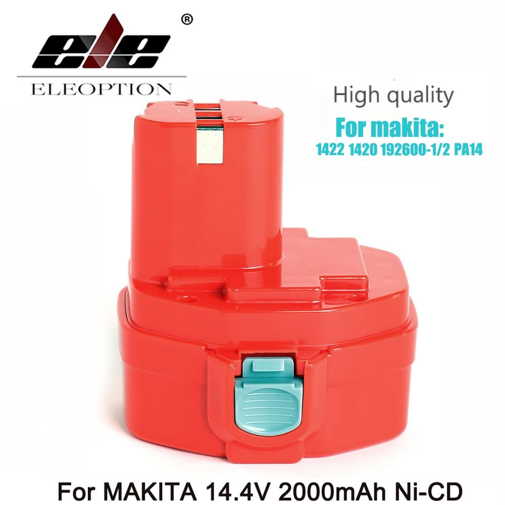 ELEOPTION 14.4 Volt 2000mAh NI-CD Power Tool Battery For MAKITA 14.4V Battery For Makita PA14,1422,1420,192600-1, 6281D,6280D