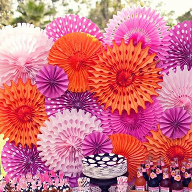 clearance sale15cm hollow out paper folding fan diy wedding party decorations tissue paper fan flowers birthday