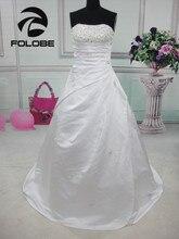 Robe De mariée longue en Satin, sans bretelles, à paillettes, à plis, dos nu, Robe De mariée élégante coupe trapèze