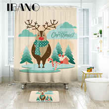 IBANO Christmas Shower Curtain Nordic ELK Pattern Waterproof Polyester Fabric Shower Curtain For The Bathroom With 12pcs Hooks animal pattern shower curtain with 12pcs hook