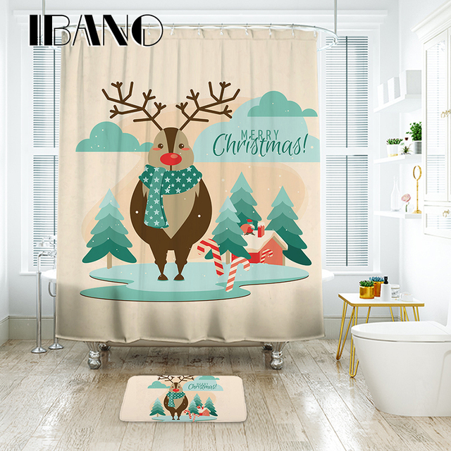 IBANO Christmas Shower Curtain Nordic ELK Pattern Waterproof Polyester Fabric For The Bathroom With 12pcs Hooks