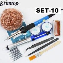 Регулируемый 60 Вт температура Электрический паяльник сварочный припой проволока тепловой карандаш 6 шт. советы инструмент для ремонта канифоль