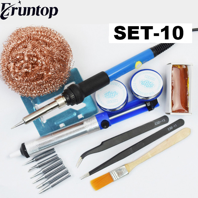 Adjustable 60W Temperature Electric Soldering Iron Welding Solder Wire Heat Pencil 6pcs Tips Repair Tool Rosin