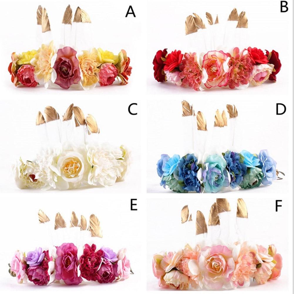 Sammlung Hier Feder Blume Stirnband 2018 Neue Heißer Verkauf Chic Girlande Mom Headwear Hochzeit Strand Party Haarband Süße Dame Hot Haarschmuck