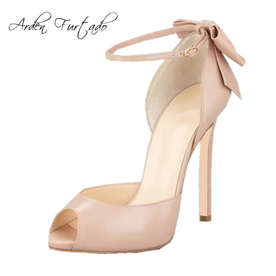 2017 estate sandali degli alti talloni delle scarpe per la donna peep toe copertura sandali tacco farfalla nodo in pelle sottile tacchi più il formato 11 12-in Tacchi alti da Scarpe su  Gruppo 1