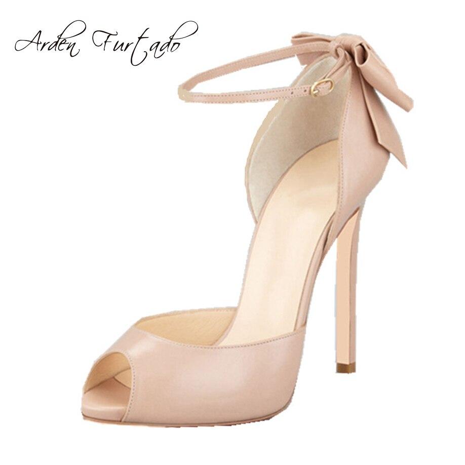 2017 أحذية الصيف للمرأة الصنادل عالية الكعب اللمحة تو فراشة عقدة تغطي الصنادل الجلدية كعب رقيقة الكعوب زائد الحجم 11 12-في كعب عالي من أحذية على  مجموعة 1