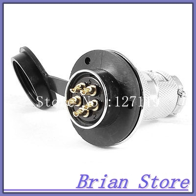 GX25-7 250V 15A 7P 25mm Thread Flange Aviation Connector w Rubber Cover