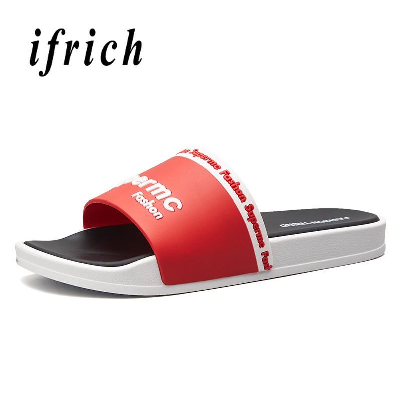 Summer 2019 Men Slippers Outdoor White Red Room Shoe Men Anti Slip Indoor Slippers For Guests Soft Bottom Men Casual Beach Shoes