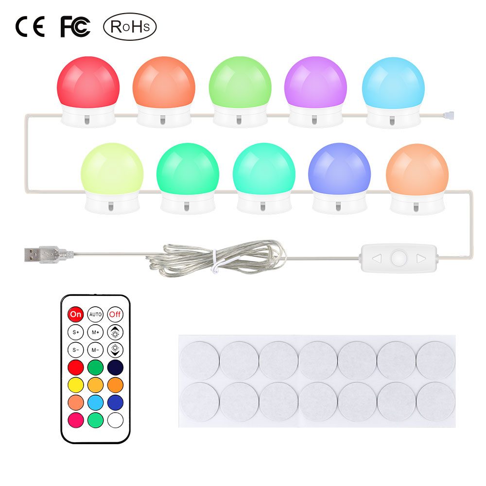 USB Port Makeup Mirror Vanity Multicolor LED Light Bulbs Cosmetic Lighted Mirrors Bulb Adjustable Brightness lights with remoteUSB Port Makeup Mirror Vanity Multicolor LED Light Bulbs Cosmetic Lighted Mirrors Bulb Adjustable Brightness lights with remote