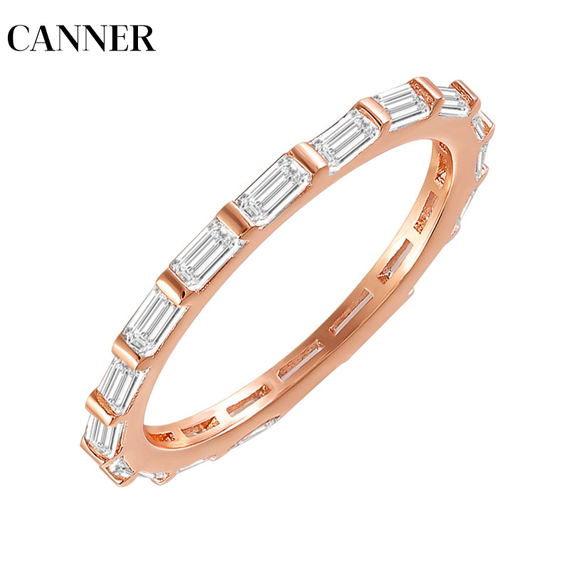 Canner Classic Wedding Engagement Band Thin Band Full Cubic Zirconia Eternity Band Luxury Sparking Women Cz Ring R4 Complete Range Of Articles