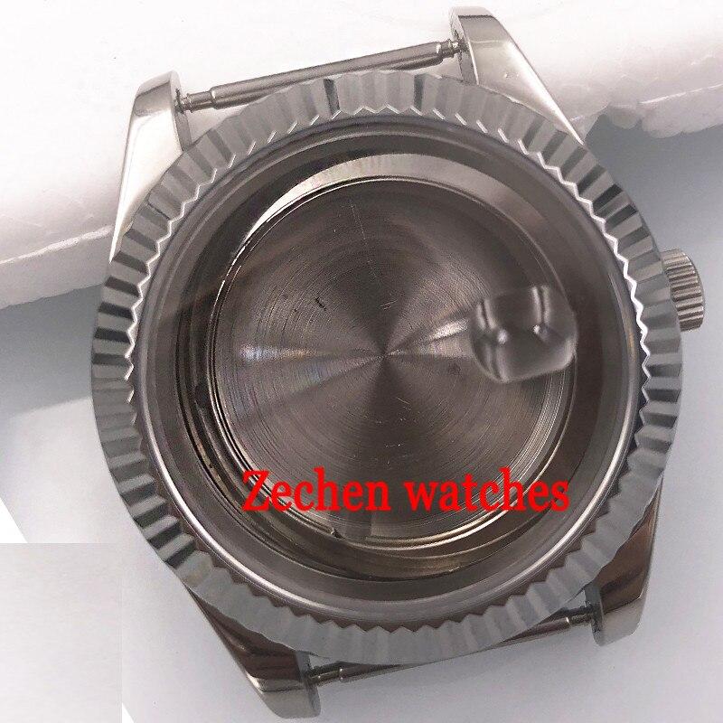 Watch case 40mm Sapphire Cystal Silver Case fit parnis watch ETA 2824 2836 Miyota 8215 821A цена