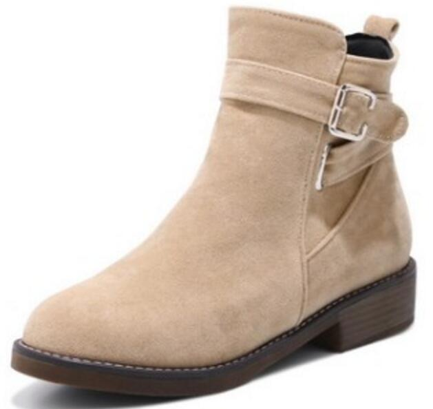 Taille Chaussures 62 Hiver Cheville Sapato Martin 26 Femmes Femme Zapatos Ceinture Boucle Mode black Feminino De Dames gray Beige Bottes Mujer Casual Byb16166 0qX7w