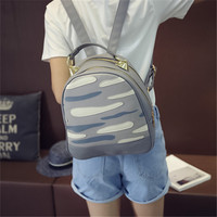 Summer Autumn New Collection Japanese Korean Style All Match Backpack Striped Camouflage Print Computer Bag Book