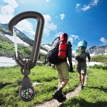 2 Pcs/Set Camping Hiking Outdoor Compass Carabiner Backpack Bottle Hang Buckle Directional Equipment