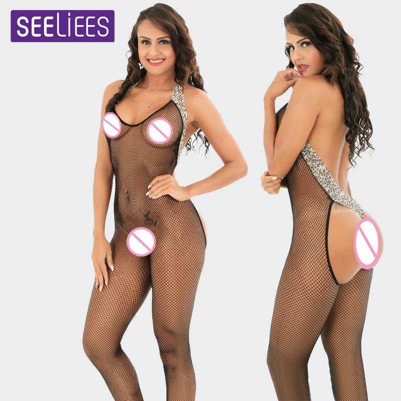 Buy SEELIESS Latex Catsuit Leopard Sexy Lingerie Lace Body Suit Bodystocking Open Crotch Backless Bodysuit Women Sexy Costumes SC29