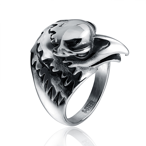 Acoontary bird head shaped fashion ring made of steel in gray color for both man and women Beauty and jewelry