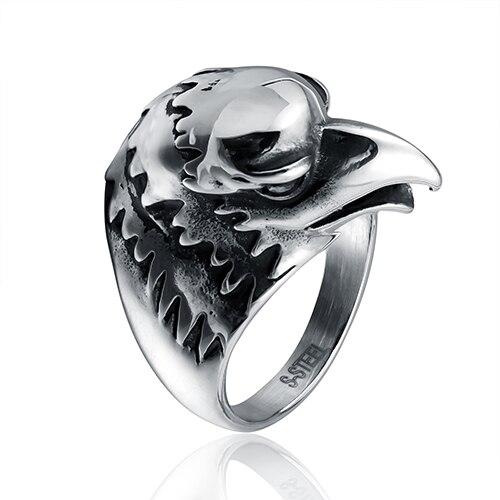 Acoontary vogel kopf geformt mode ring aus stahl in grau farbe sowohl für mann und frauen Schönheit und schmuck