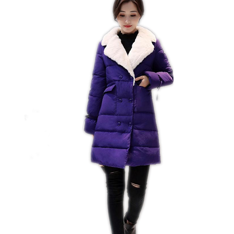2017 Fashion Winter Women Down Cotton Jacket Parka With Flare Sleeve Bow Female Turn-Down Collar Medium-Long Cotton Parka CQ358 down jacket women 2017 korean long sleeve ladies down jackets larger medium long down women s winter jacket with a hood e0646